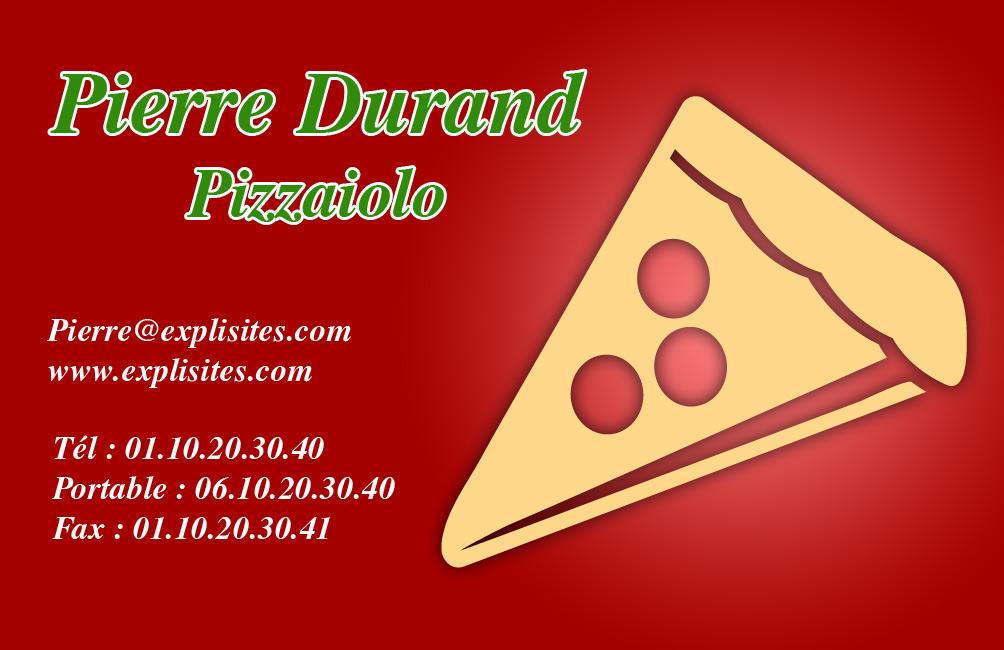 Carte De Visite Pizza