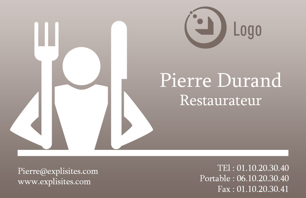 Exemple de la Carte de Viste restaurateur